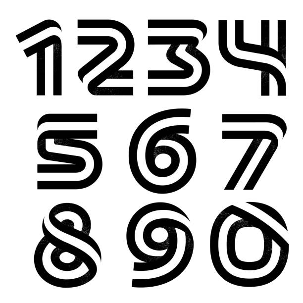 Numbers set formed by two parallel lines with noise texture. Vector black and white typeface for labels, headlines, posters, cards etc. anniversary symbols stock illustrations