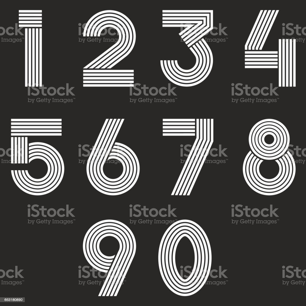 Numbers set hipster parallel offset thin lines intersection style numbers set hipster parallel offset thin lines intersection style idea numerals typography design element for buycottarizona Images