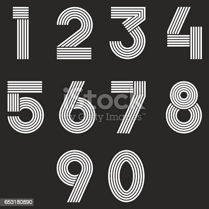 Numbers set hipster, parallel offset thin lines intersection style idea numerals typography design element for wedding invitation, mathematics logo symbols mockup