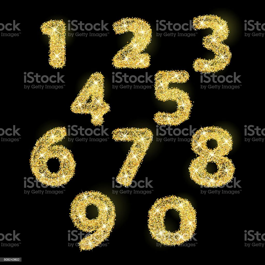 Numbers set in golden style. Vector illustration gold design vector art illustration