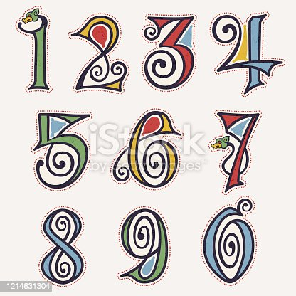 istock Numbers set in true celtic knot-spiral style. 1214631304