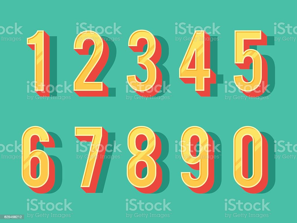 Numbers set in vintage style vector art illustration