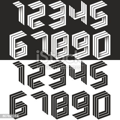 istock Numbers set isometric geometric shape, black and white creative idea hipster monogram digits form in the perspective. Collection of figures for wedding cards. Mathematical symbols 1, 2, 3, 4, 5, 6, 7, 8, 9, 0 807691016