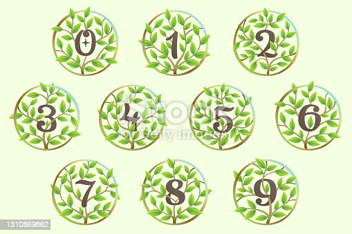 istock Numbers set made of twisted tree branches and green leaves in circle. 1310869862
