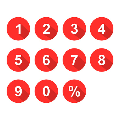 numbers set red white color vector