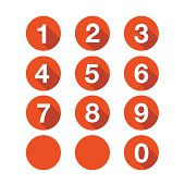 Numbers set. Vector button