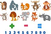 Cartoon Illustration of Numbers Set from One to Nine with Wild Animal Characters