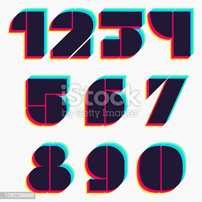 istock Numbers set with stereo effect. 1282266685