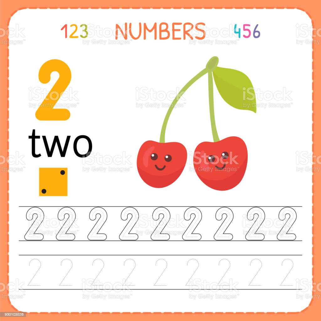 Numbers Tracing Worksheet For Preschool And Kindergarten Writing Number Two Exercises Kids