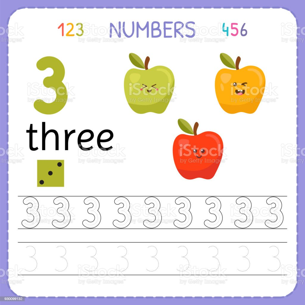 Numbers Tracing Worksheet For Preschool And Kindergarten Writing Number Three Exercises Kids