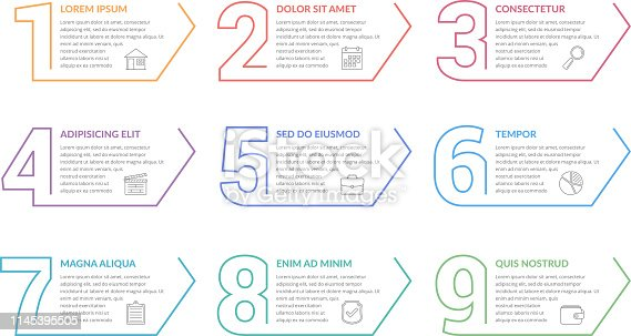 Set of nine numbers with place for your text, can be used as steps, options, process design, workflow, vector eps10 illustration