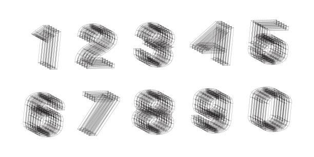 ilustraciones, imágenes clip art, dibujos animados e iconos de stock de números - tipos de letra y tipografía