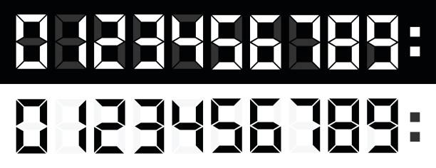 LED Numbers LED Numbers On Black and white background liquid crystal display stock illustrations