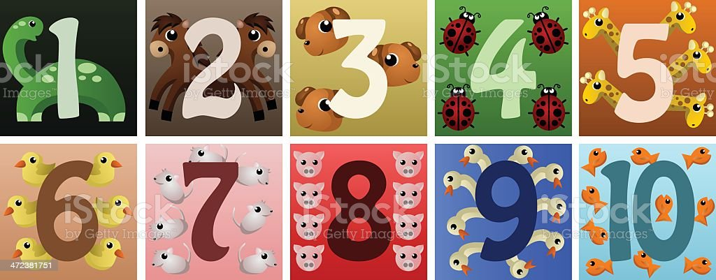 Numbers with cute animals royalty-free stock vector art