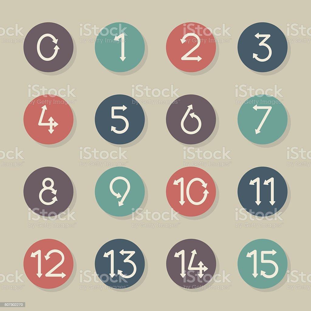 Numeric Arrow Icons - Color Circle Series vector art illustration