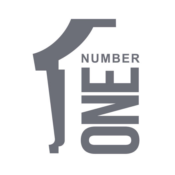 numeric icon one - single object stock illustrations