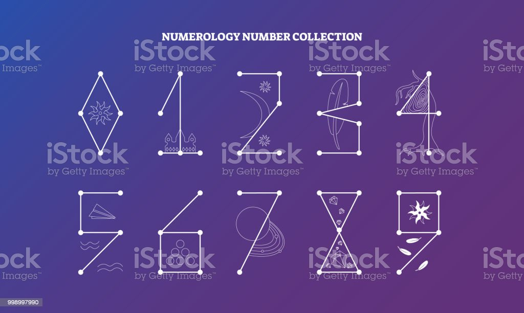 Numerology Numbers With Symbolic Meaning Design Vector Illustration