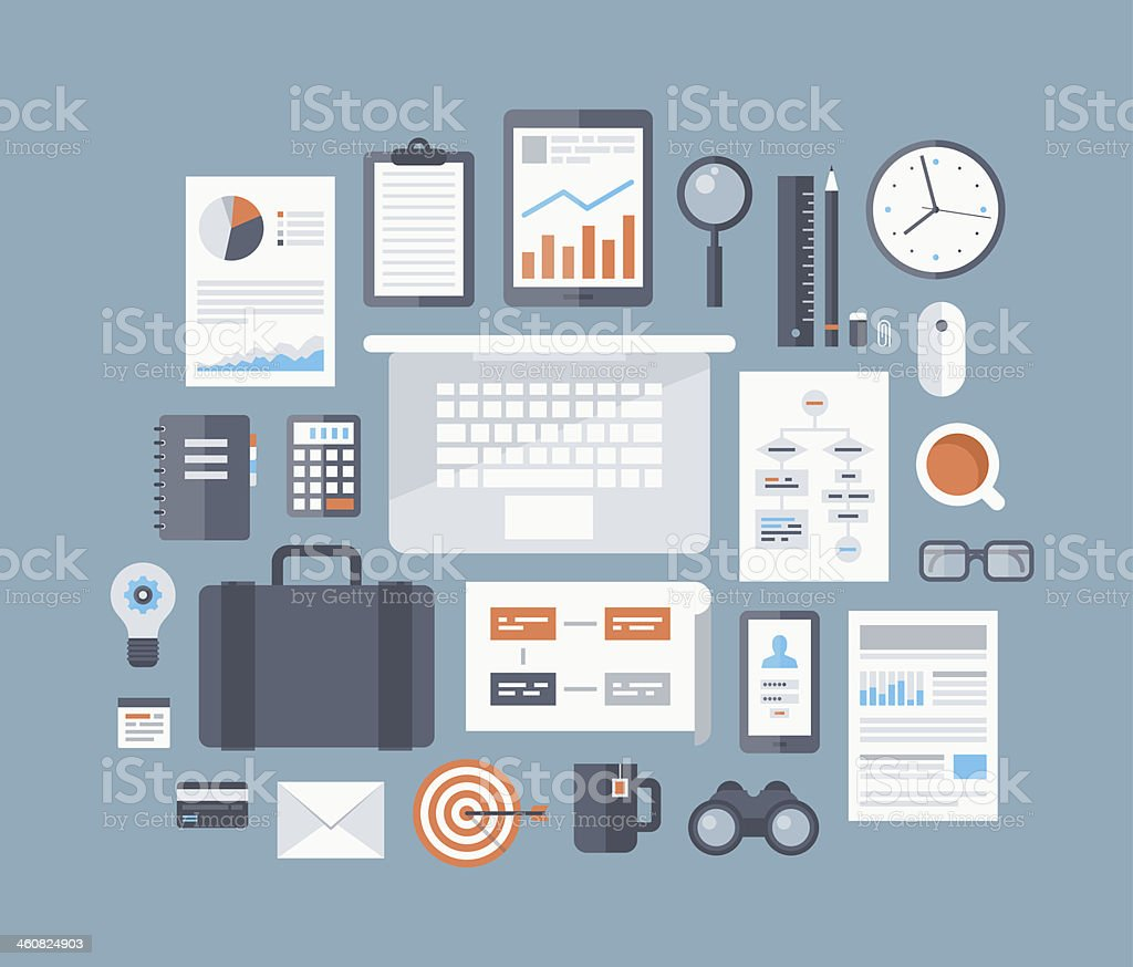 Numerous flat business-related elements vector art illustration