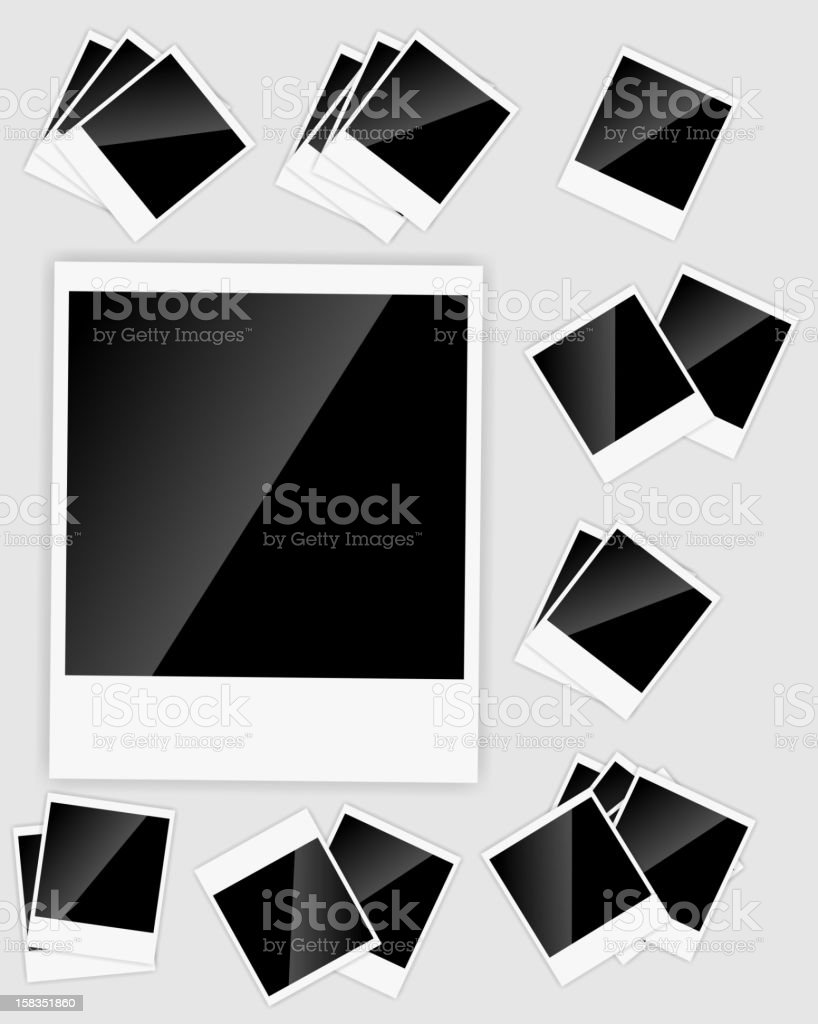 Numerous illustrations of blank instant photos royalty-free stock vector art