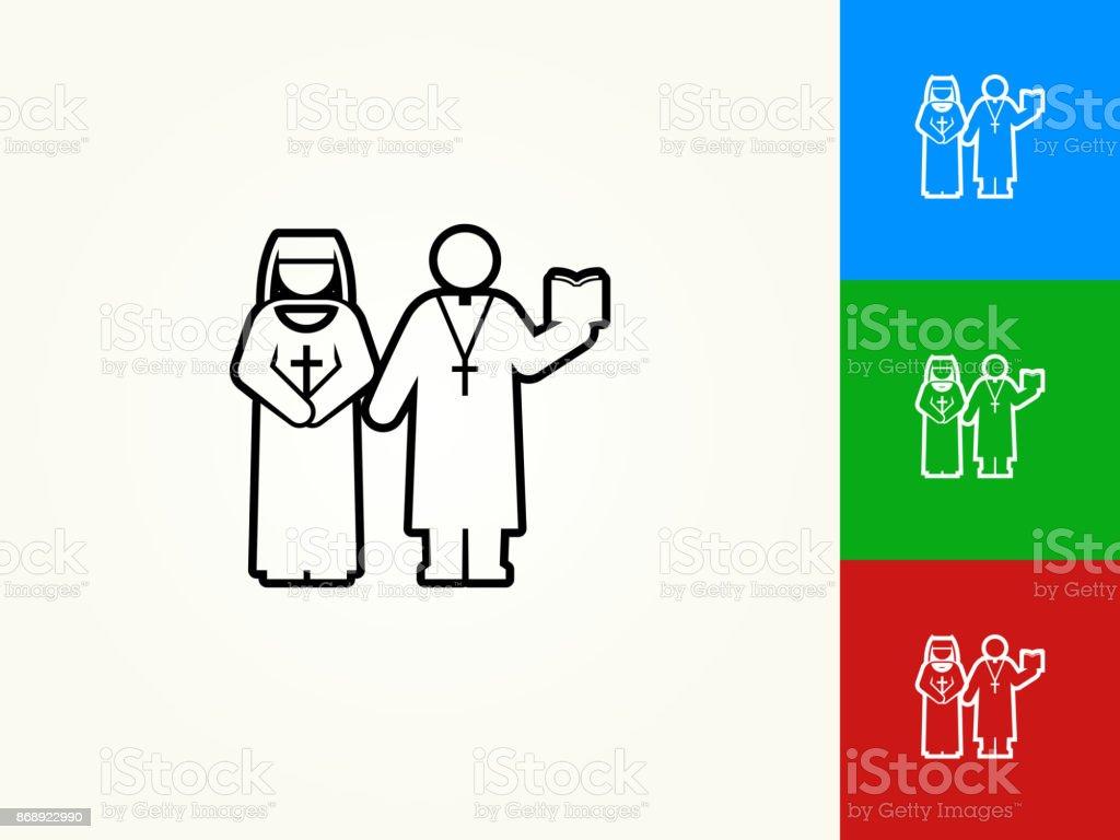 Monja y sacerdote Black icono lineal de movimiento - ilustración de arte vectorial