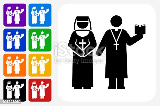 Nun and Priest Icon Square Button Set. The icon is in black on a white square with rounded corners. The are eight alternative button options on the left in purple, blue, navy, green, orange, yellow, black and red colors. The icon is in white against these vibrant backgrounds. The illustration is flat and will work well both online and in print.
