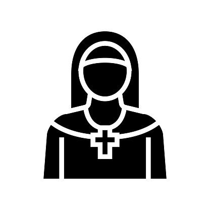 nun christianity glyph icon vector illustration