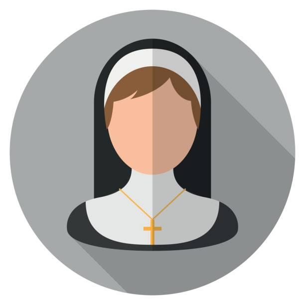 ilustraciones, imágenes clip art, dibujos animados e iconos de stock de icono plano de monja - hermana