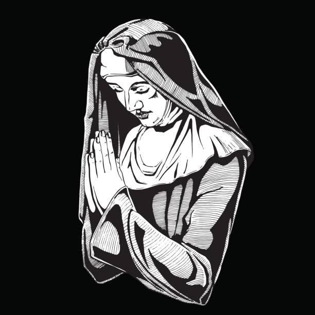 ilustraciones, imágenes clip art, dibujos animados e iconos de stock de monja es orar. - hermana
