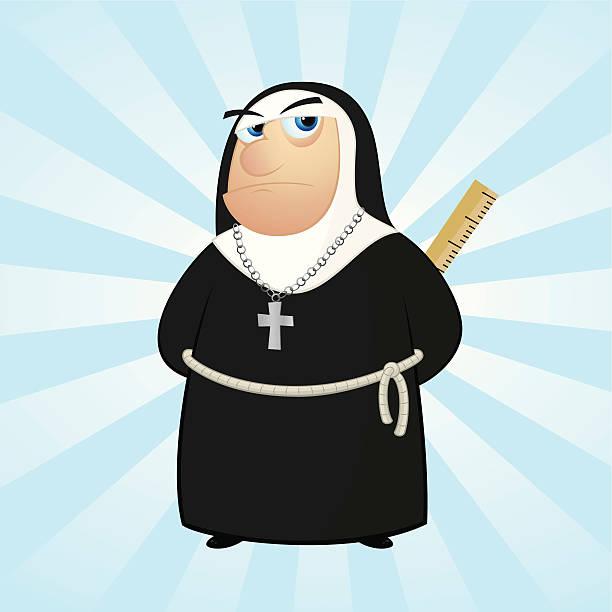 ilustraciones, imágenes clip art, dibujos animados e iconos de stock de monja con una regla - hermana