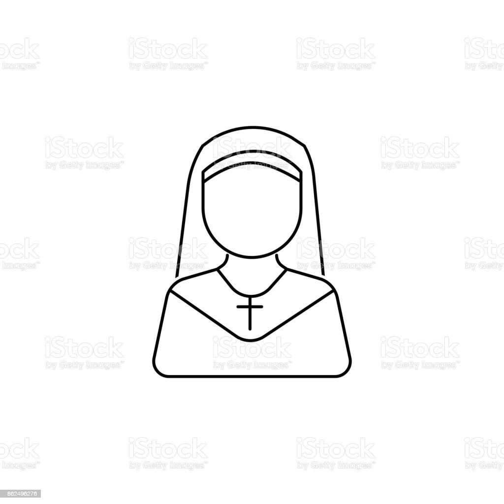 icono de avatar de mujer de monja - ilustración de arte vectorial