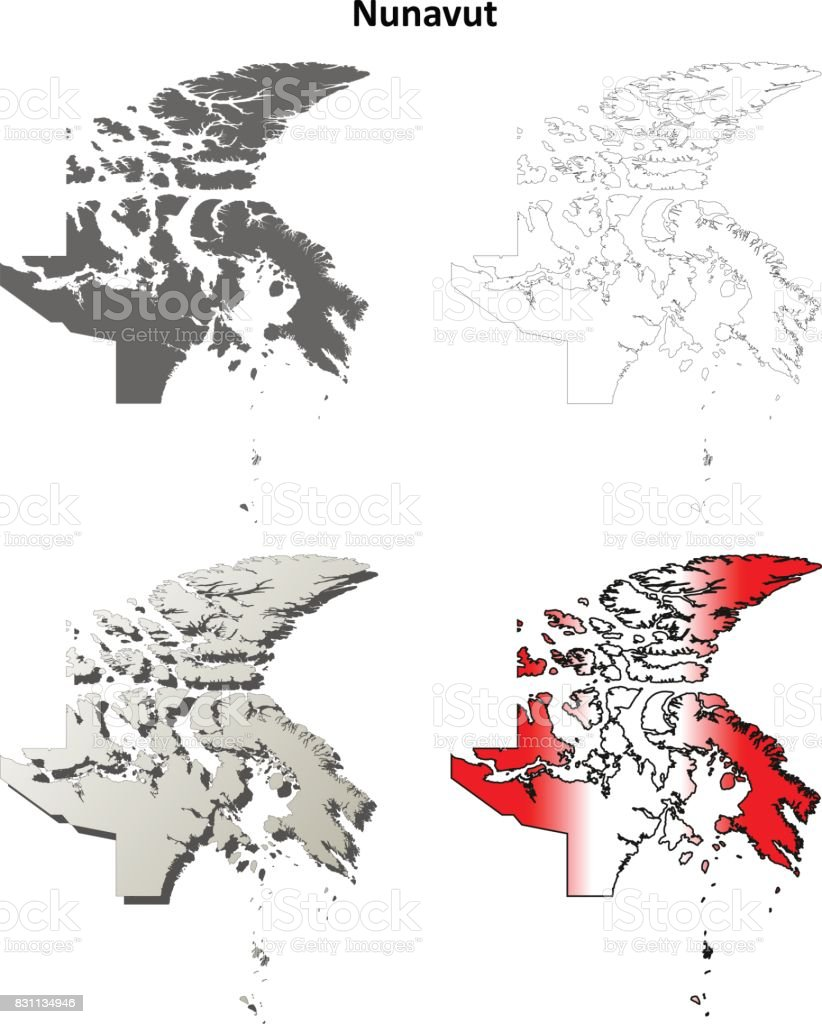 Nunavut blank outline map set vector art illustration