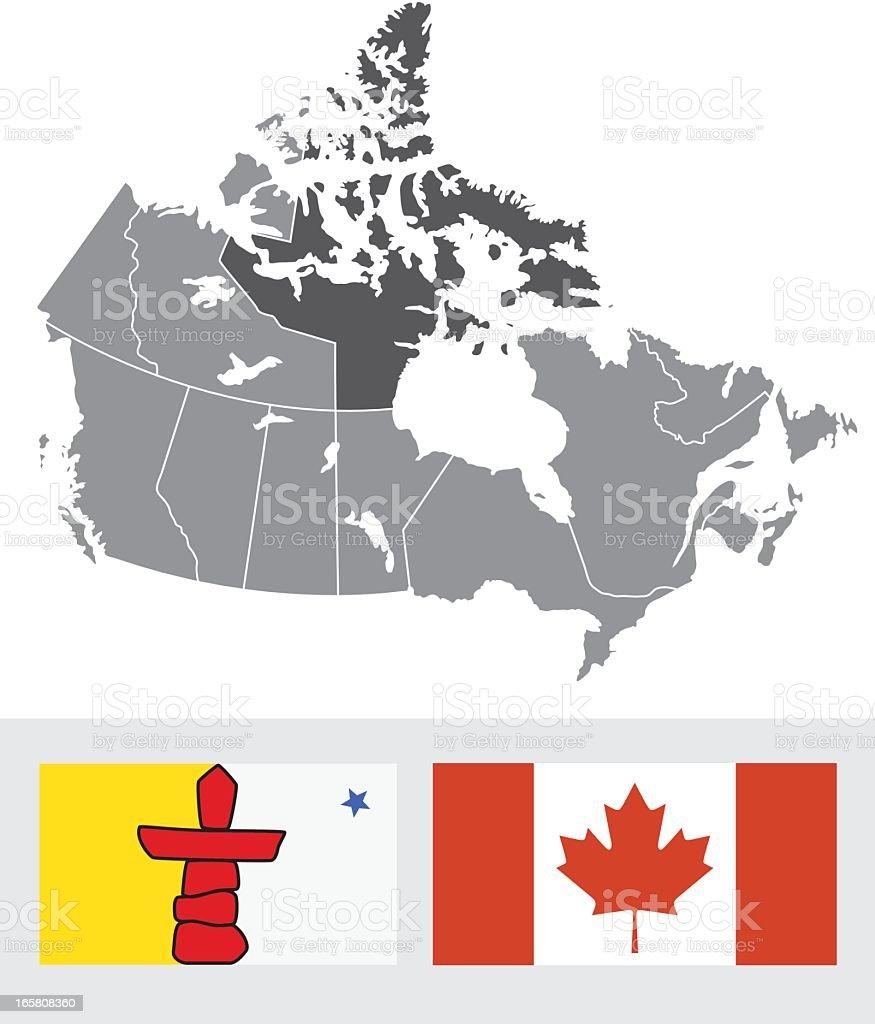 Nunavut, Canada Map and Flag vector art illustration