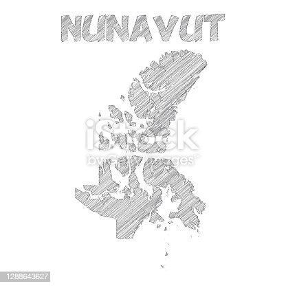 istock Nunavut map hand drawn on white background 1288643627