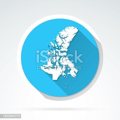 istock Nunavut map icon - Flat Design with Long Shadow 1322552272