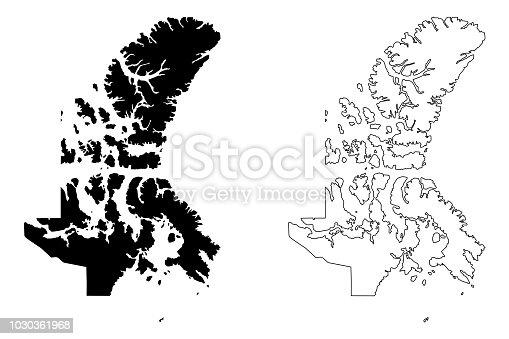 istock Nunavut (Canada) map vector 1030361968