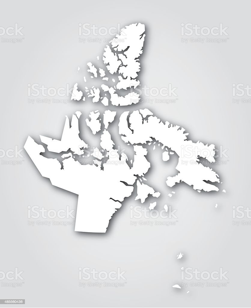 Nunavut Silhouette White vector art illustration