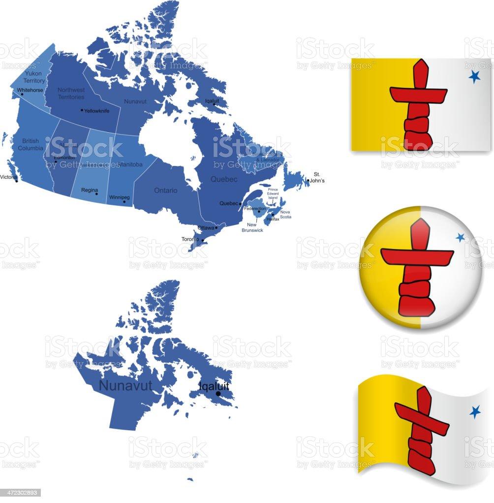 Nunavut territory set vector art illustration