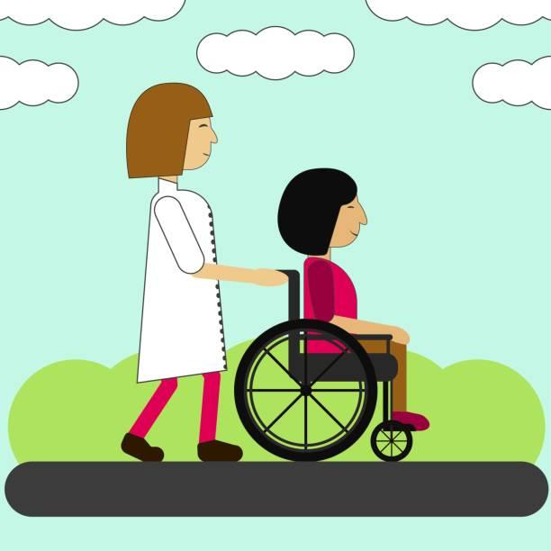illustrations, cliparts, dessins animés et icônes de infirmière et handicapé sur une promenade - aide soignant