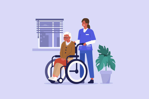 nurse and elderly patient - проживание с уходом stock illustrations