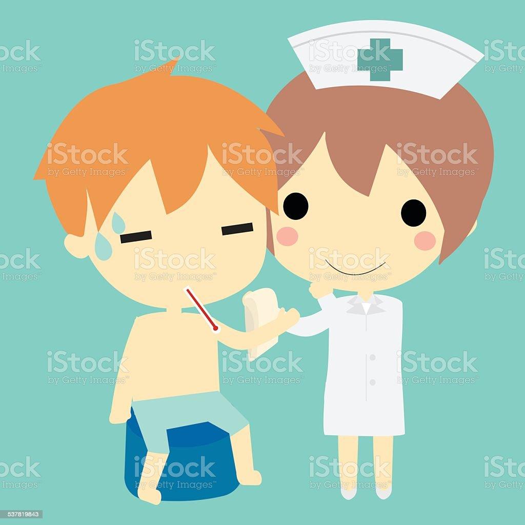 Krankenschwester und patient. Lizenzfreies krankenschwester und patient stock vektor art und mehr bilder von 2015