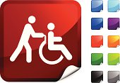 nurse and wheel chair patient internet icon
