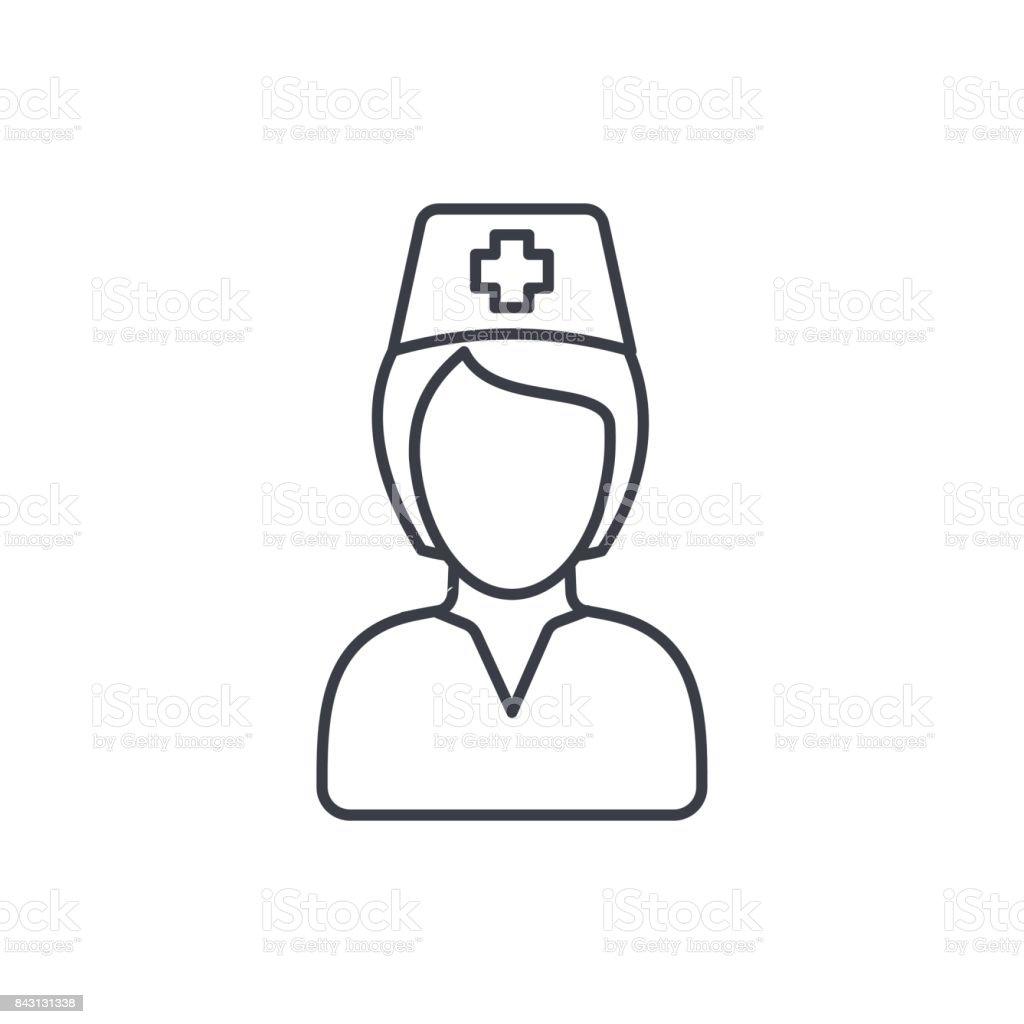 Vetores De Avatar De Enfermeira Medico Icone De Linha Fina Simbolo