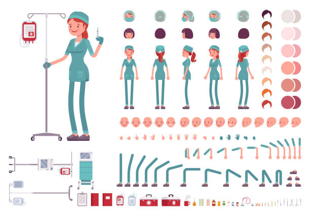 Nurse character creation set Nurse in hospital uniform character creation set. Full length, different views, emotions, gestures, medical equipment, nursing tools. Build your own design. Cartoon flat-style infographic illustration uniform cap stock illustrations