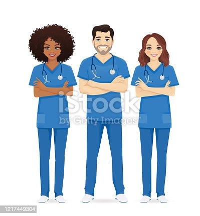 Nurse characters group. Medical team isolated vector illustartion