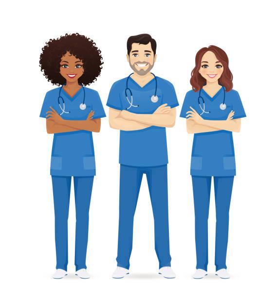 Nurse characters group Nurse characters group. Medical team isolated vector illustartion nurse stock illustrations