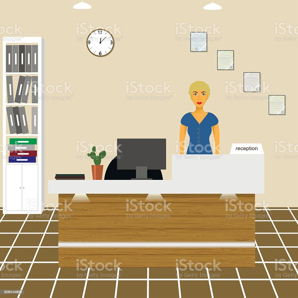 nurse  counselor  administrator  office worker  secretary behind the reception area - illustrazione arte vettoriale