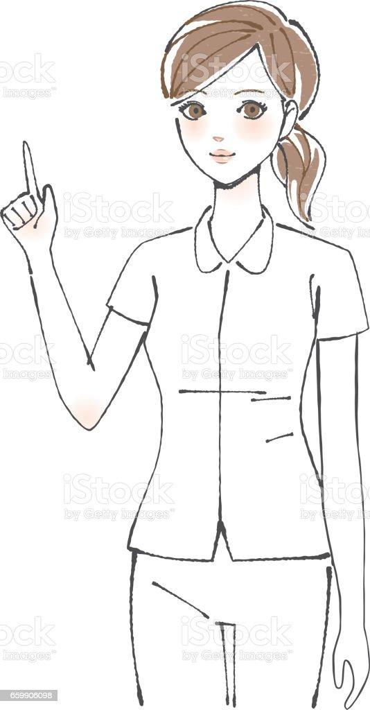Nurse Finger pointing vector art illustration