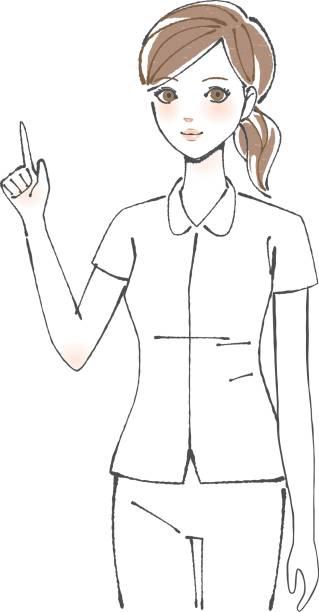 看護師の指が指しています。 - 看護師点のイラスト素材/クリップアート素材/マンガ素材/アイコン素材