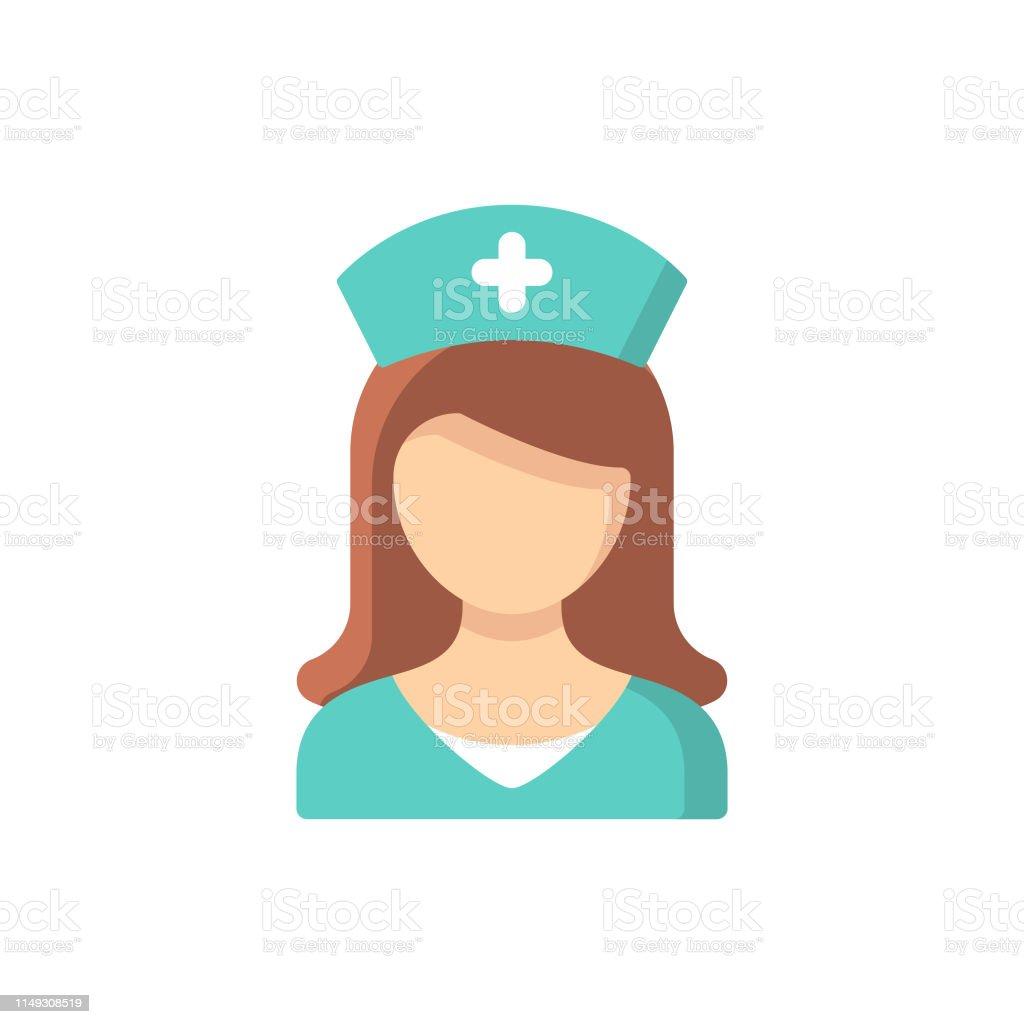 Hemşire düz simgesi. Pixel mükemmel. Mobil ve Web için. - Royalty-free Ambulans Vector Art