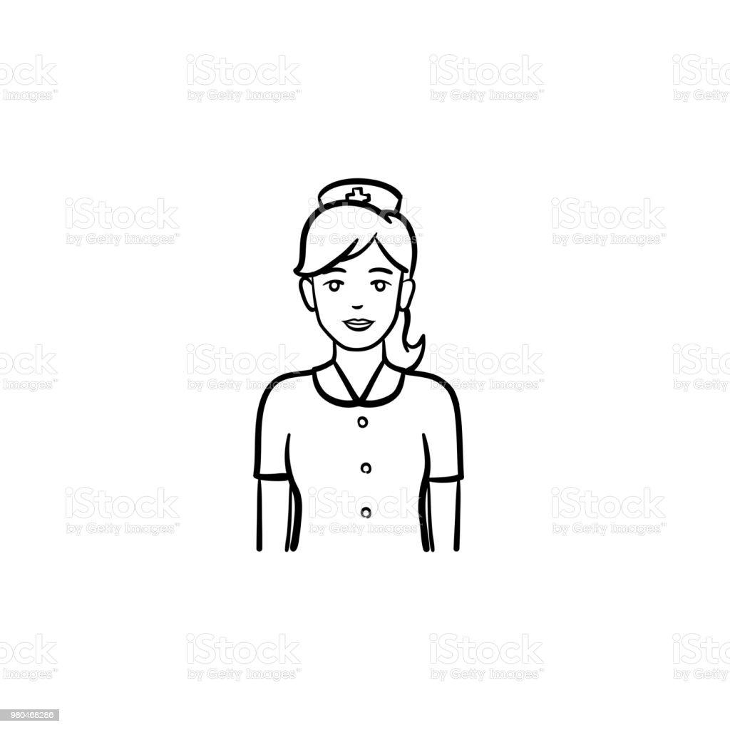 Krankenschwester Hand gezeichneten Umriss doodle Symbol – Vektorgrafik